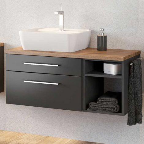 Waschtischunterschrank Dasa (links) 90cm mit 2 Schubladen - graphit/mattgrau