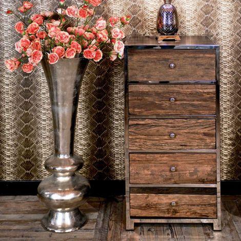Kommode Kensington 60cm mit 5 Schubladen - braun/silbern