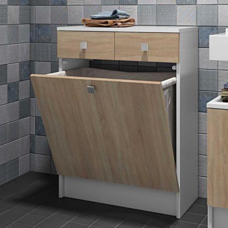 Badezimmerschrank Variety mit Wäschekorb - weiß/Eiche