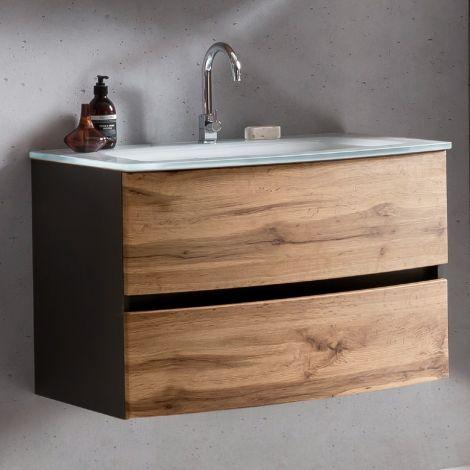 Waschbeckenunterschrank Kornel 80cm weißes Waschbecken - graphitgrau/eiche