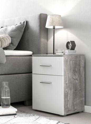Nachttisch 1 Schublade und 1 Tür - Weiß/Beton