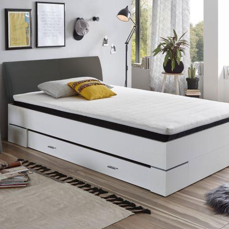 Bett mit Stauraum Zeger 140 x 200 - weiß/anthrazit