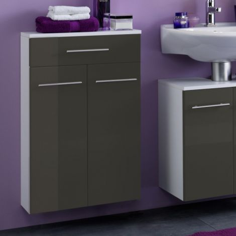 Badezimmerschrank Small 50cm 1 Schublade und 2 Türen - hochglanz-grau