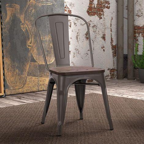 Satz von 4 Stühlen Victoria - Metallfarbe