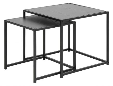 Seaford nest of tables 2 pcs. - matt black, black ash