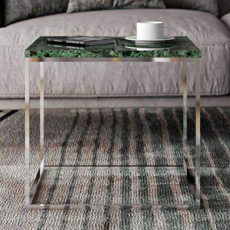 Beistelltisch Gleam 50x50 - grüner Marmor/Chrom