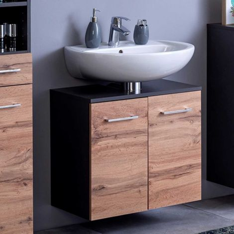 Waschtischunterschrank Pares 60cm 2 Schubladen - graphit/wotan eiche
