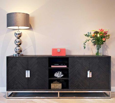 Sideboard Bony 225cm 4 Türen - schwarz/silber