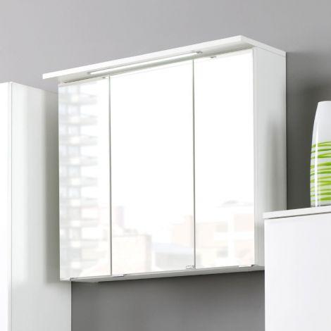 Spiegelschrank Bobbi 60cm Modell 1 3 Türen und LED-Beleuchtung - weiß