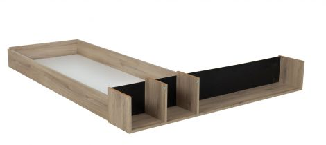 Bettkasten mit offenen Fächern für Bett Castle 140x200 - Eiche/schwarz