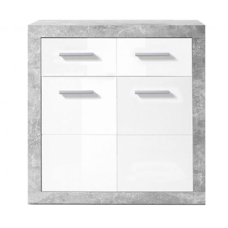 Kommode Stanno 82 cm mit 2 Türen und 2 Schubladen - Beton/Weiß