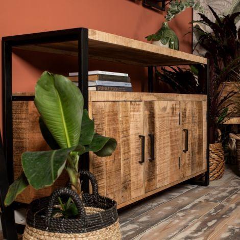 Sideboard Havana 130cm mit 3 Türen - Mango-Holz/Eisen