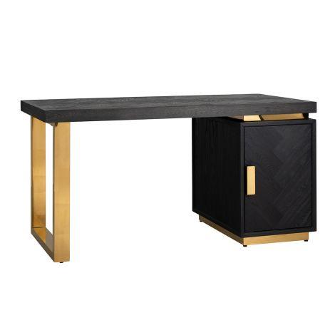 Schreibtisch Bony 150cm mit 1 Tür - schwarz/gold