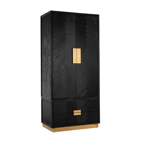 Kleiderschrank Bony 100cm 2 Türen und 2 Schubladen - schwarz/gold