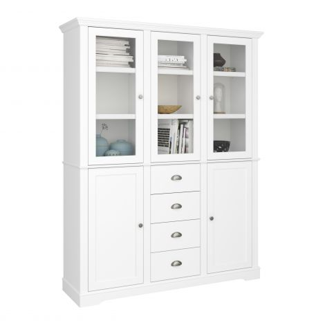 Display cabinet VENICE 137 - Display Unit with 5 doors and 4 drawers - EXTRA WHITE