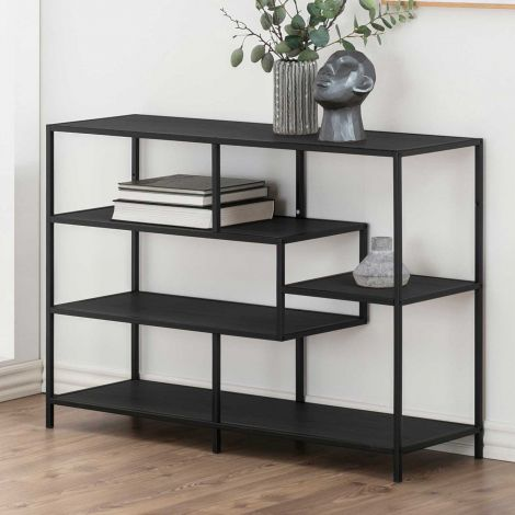 Seaford bookcase, 3 shelves - matt black