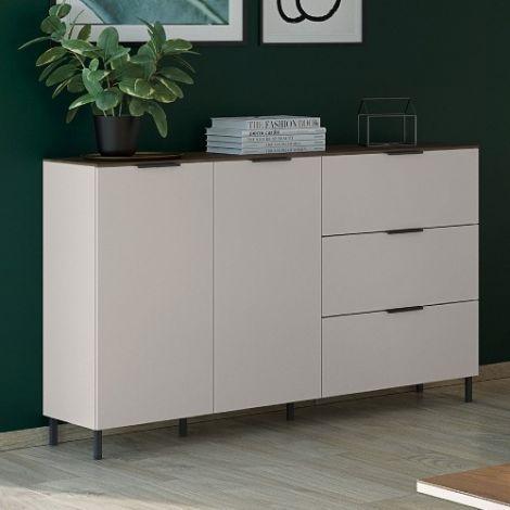 Sideboard Karsten niedrig 2 Türen und 3 Schubladen 151cm - Kaschmir/Walnuss