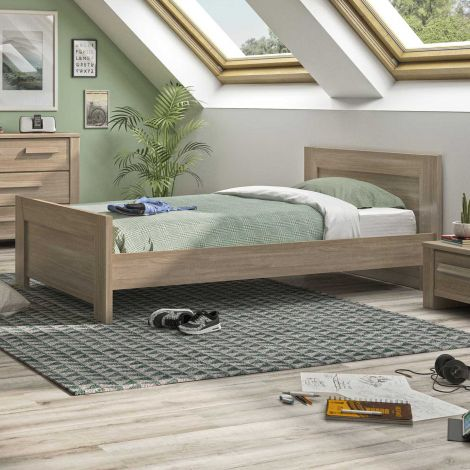 Einzelbett Haron 90x200 - Eiche grau