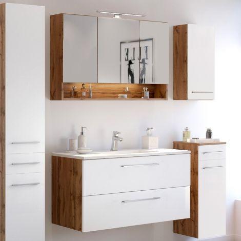 Badkombination Sefa 2 mit Waschbecken und Spiegelschrank - Eiche/Weiß
