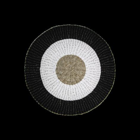 Teppich Malibu 120cm Bast/Meeresgras natur/weiss/schwarz