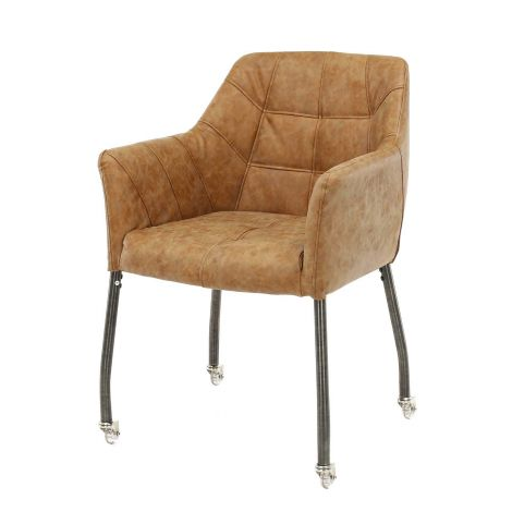 Stuhl quadratisch genähte Räder - Set von 2 - Wax PU cowhide Braun