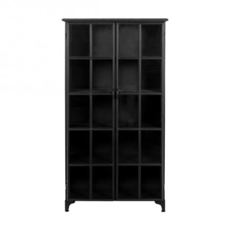 Vitrine Manhattan 180x90cm mit 2 Türen schwarzes Metall/Glas