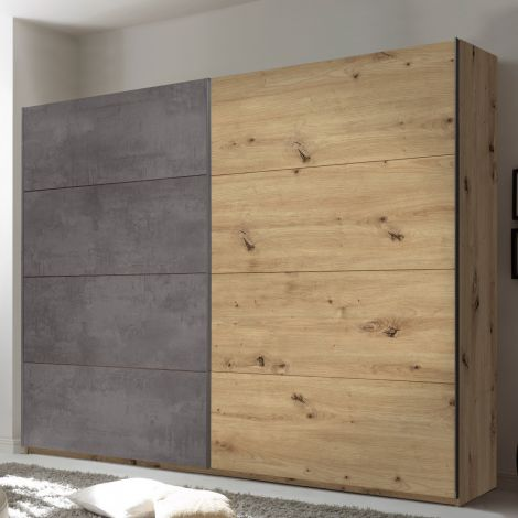 Paslack Kleiderschrank 270cm mit 2 Türen - Artisan Eiche/Beton