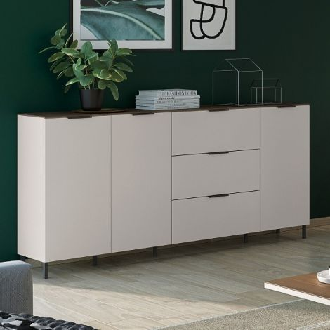 Sideboard Karsten niedrig 3 Türen und 3 Schubladen 192cm - Kaschmir/Walnuss