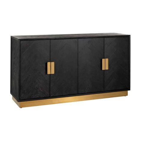 Sideboard Bony 160cm 4 Türen - schwarz/gold