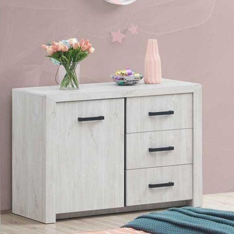 Kommode Elvira 120cm mit 1 Tür und 3 Schubladen - Eiche weiß