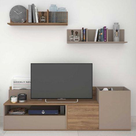 TV-Schrank Boost 180cm - braun/grau