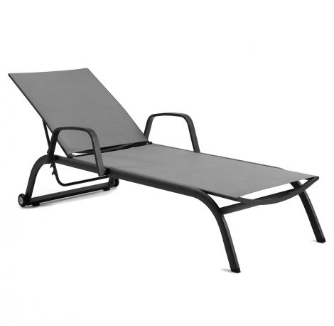 Zaragoza sunlounger with arms alu charc text s.gre