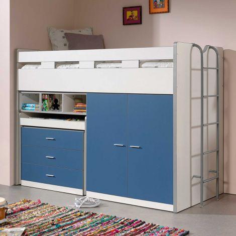Halbhoher Schlafsessel Bonny 70 mit Schreibtisch, Kommode und Kleiderschrank - blau