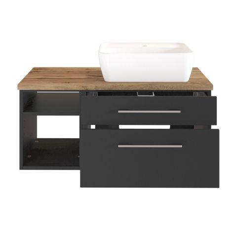 Waschtischunterschrank Dasa (rechts) 90cm mit 2 Schubladen - graphit/mattegrau