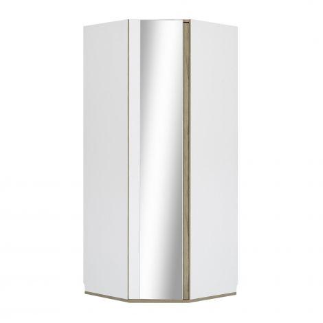 Eckkleiderschrank mit Spiegeltür Birger - weiß