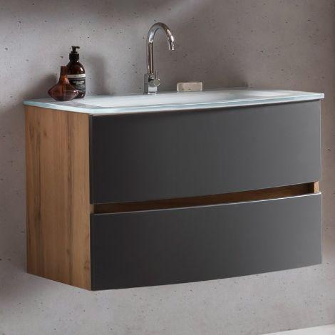Waschbeckenunterschrank Kornel 80cm weißes Waschbecken - Eiche/mattgrau