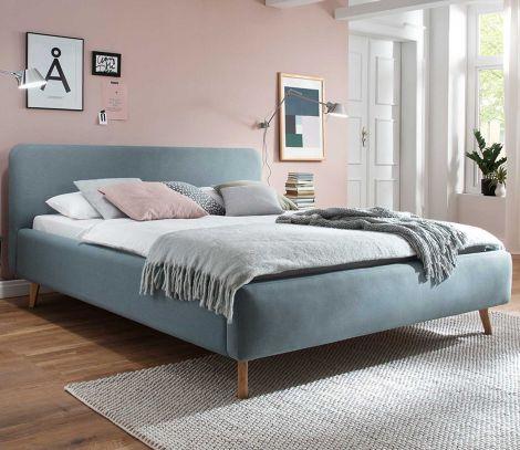 Gedempt bed Mattis - 140x200 cm - ijsblauw