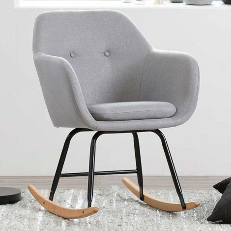 Emilia rocking chair - light grey, oak;black