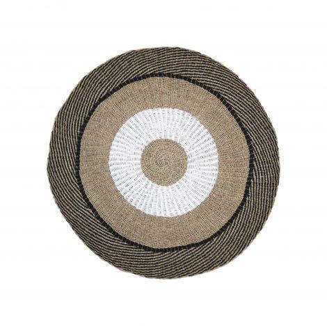 Teppich Malibu 150cm Bast/Meeresgras natur/weiss/schwarz
