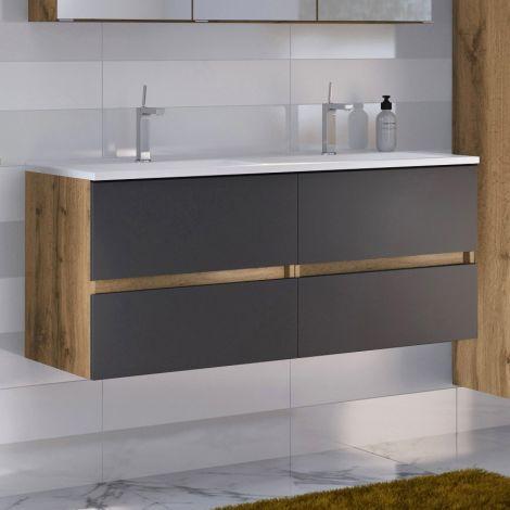 Waschtischunterschrank Luna 120cm mit Doppelwaschbecken und 4 Schubladen - Eiche/grau