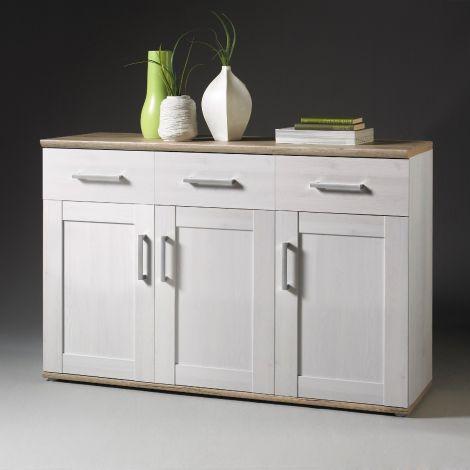 Sideboard Roman 140cm mit 3 Türen und 3 Schubladen - weiß/braun