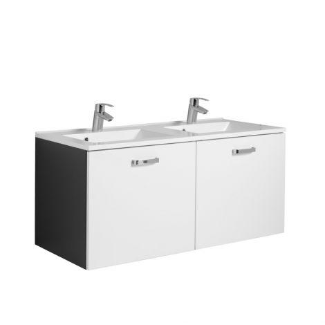 Waschtischunterschrank Bobbi 120cm mit Doppelwaschbecken und 2 Schubladen - graphit/hochglanz-weiß