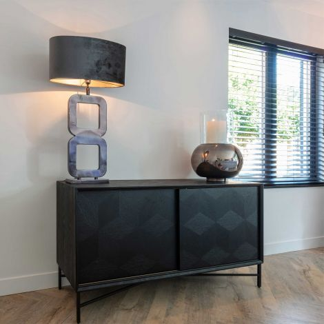 Sideboard Blax 160cm mit Schiebetüren - schwarz