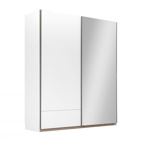 Kleiderschrank Birger 202 cm 2 Schiebetüren und Spiegel - weiß
