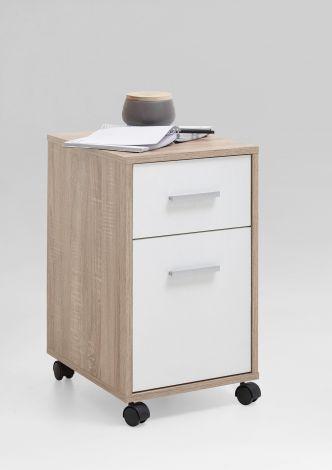 SNEEK 1 - Rollcontainer - Eiche Nb/weiß