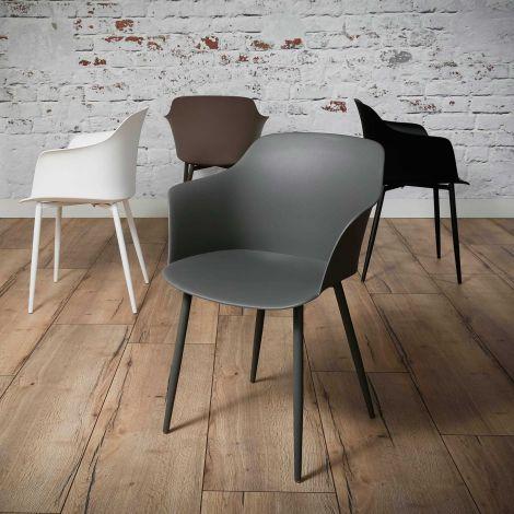 Schalensitz Kunststoff - Set von 4 - Grau