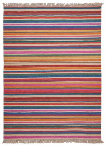 Teppich Hippie Stripes 200x60 Mehrfarbig