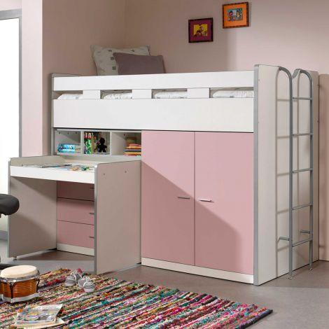 Halbhoher Schlafsessel Bonny 70 mit Schreibtisch, Kommode und Kleiderschrank - rosa