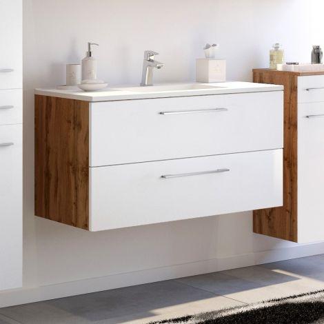Waschbeckenschrank Sefa 100cm 2 Schubladen - Eiche/Weiß