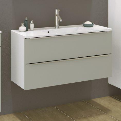 Waschtischunterschrank Hansen 100cm 2 Schubladen - grau/weiß